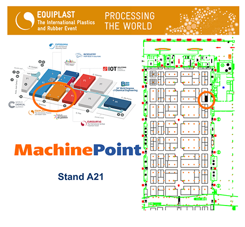 MachinePoint can be found at booth A21. Equiplast show runs from October 2-6 in Barcelona, Spain