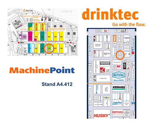 MachinePoint can be found at booth 412 in hall A4. Drinktec show runs from September 11-15 in Munich, Germany