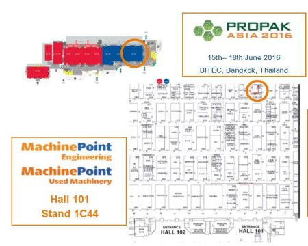 Used machinery and engineering services at Propak Asia tradeshow for plastics and beverages industry
